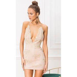 Revolve Gianna deep V mini dress